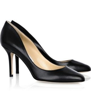 Jimmy Choo Gilbert Black Leather Pumps Round Toe